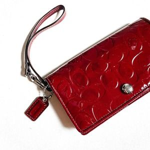 Coach Red Patent Leather Wallet Wristlet